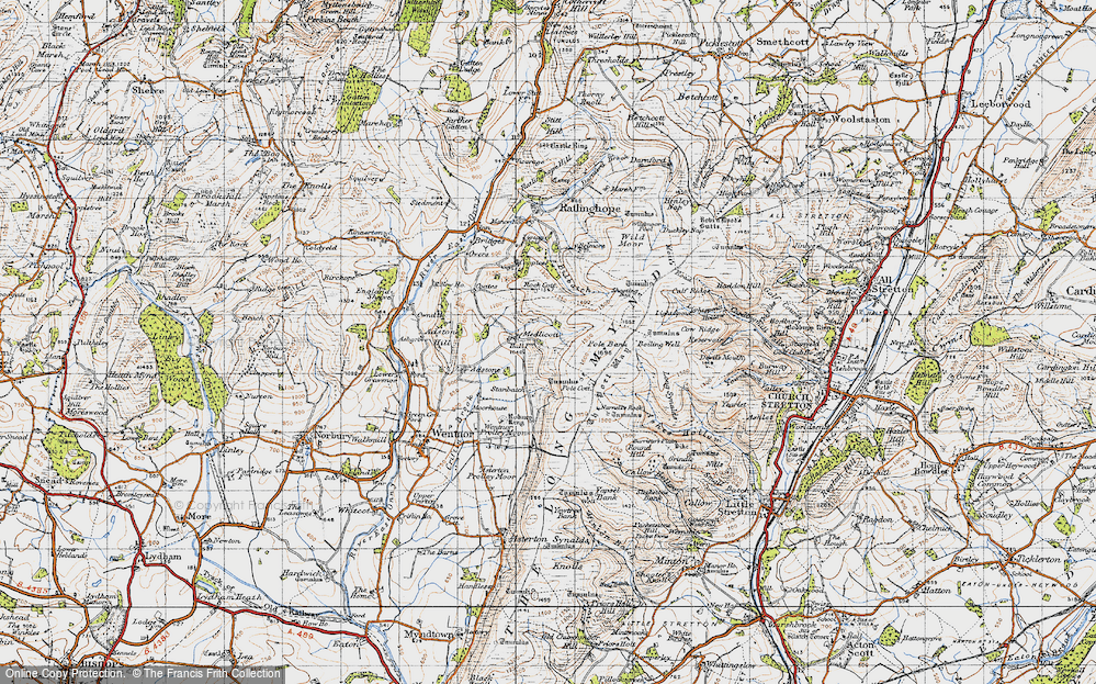 Old Map of Historic Map covering Adstone Hill in 1947