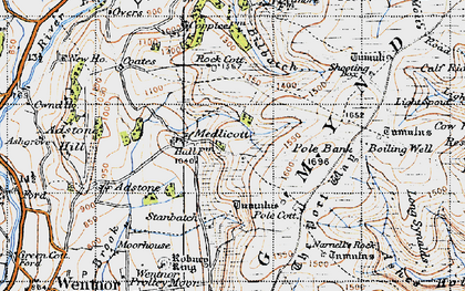 Old map of Adstone Hill in 1947