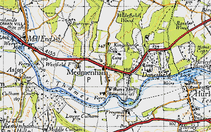 Old map of Medmenham in 1947