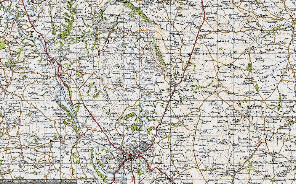 Old Map of Historic Map covering Alder Lee in 1947