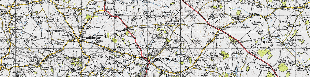 Old map of White Sheet Hill in 1945