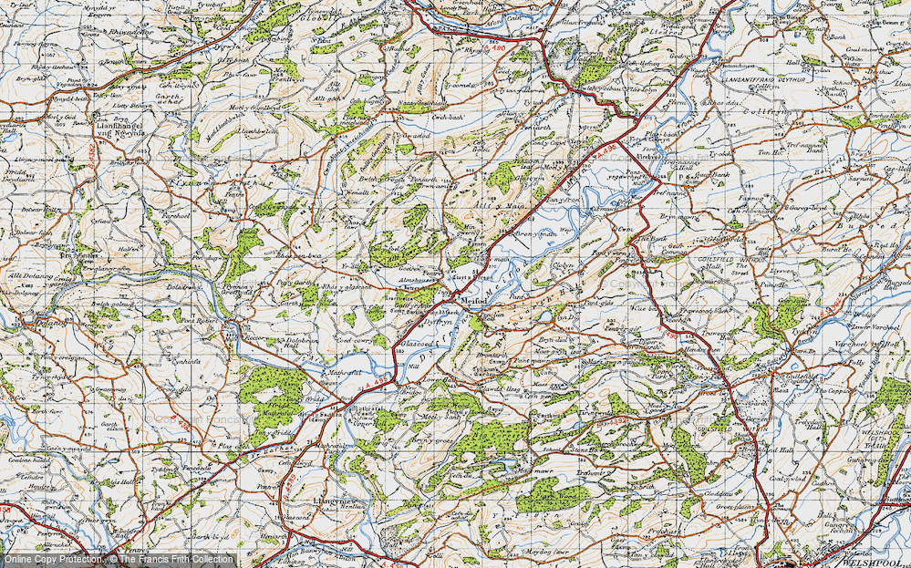 Old Map of Historic Map covering Alltfawr in 1947