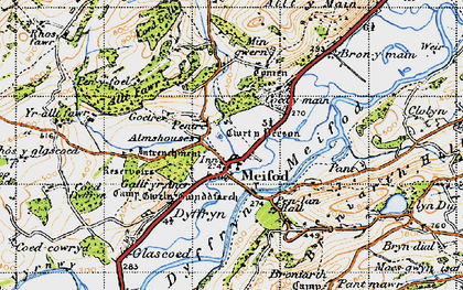 Old map of Meifod in 1947