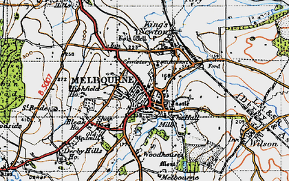 Old map of Woodhouses in 1946