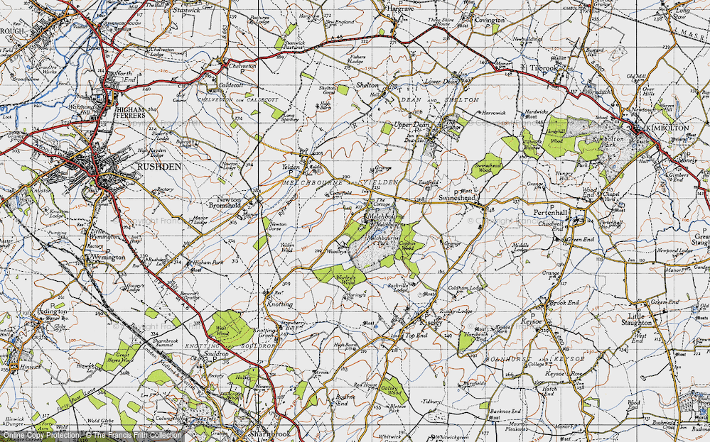 Old Map of Historic Map covering Woodleys in 1946