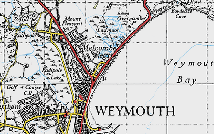 Old map of Weymouth Bay in 1946