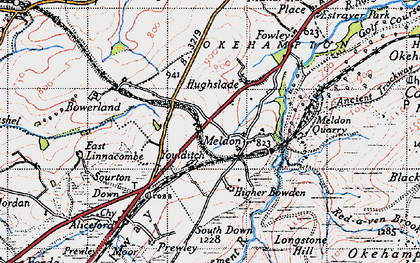 Old map of West Okement River in 1946