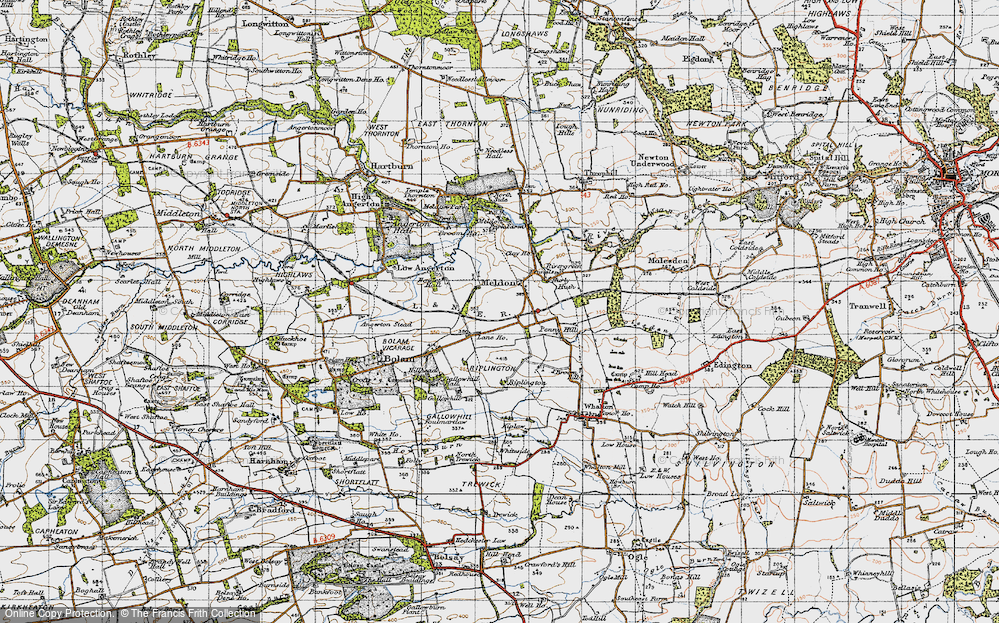 Old Map of Meldon, 1947 in 1947