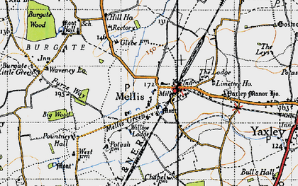 Old map of Yaxley Manor House in 1946