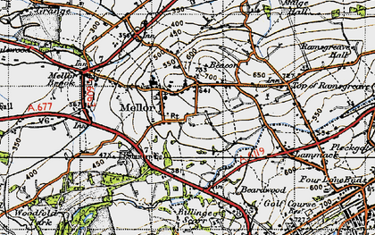 Old map of Mellor in 1947