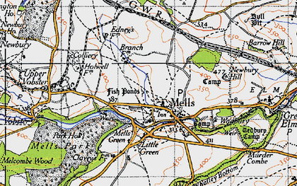 Old map of Mells in 1946