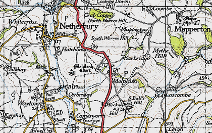Old map of Melplash in 1945