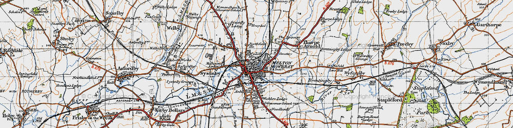 Old map of Melton Mowbray in 1946