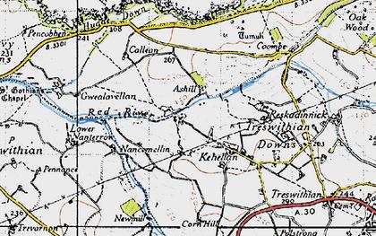 Old map of Menadarva in 1946