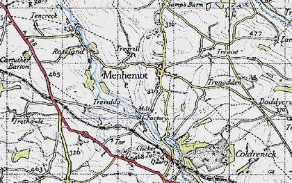 Old map of Menheniot in 1946