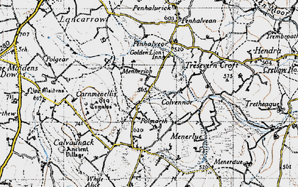 Old map of Menherion in 1946