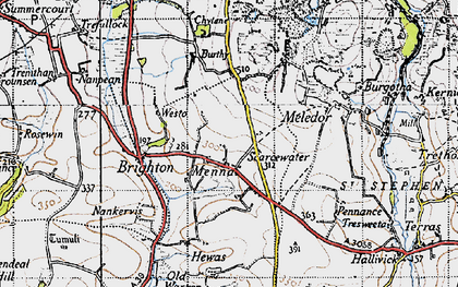 Old map of Menna in 1946