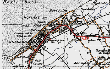 Old map of Meols in 1947