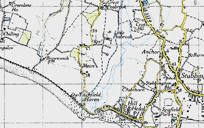 Old map of Titchfield Haven in 1945