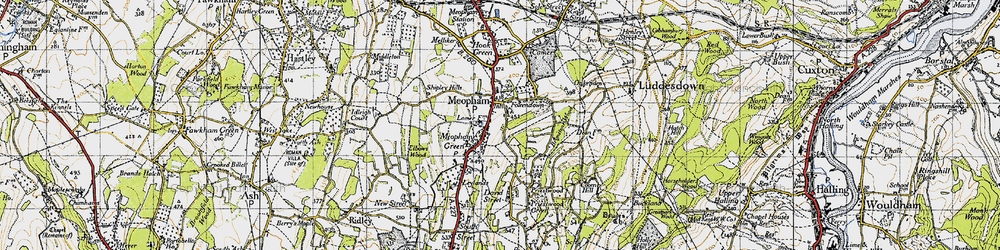 Old map of Meopham in 1946