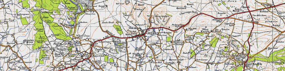 Old map of Mere in 1945