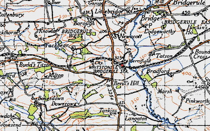 Old map of Langaton in 1946