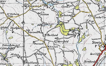 Old map of Whitestone Cross in 1946