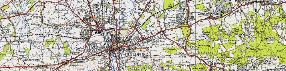 Old map of Merrow in 1940