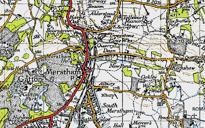 Old map of Merstham in 1940