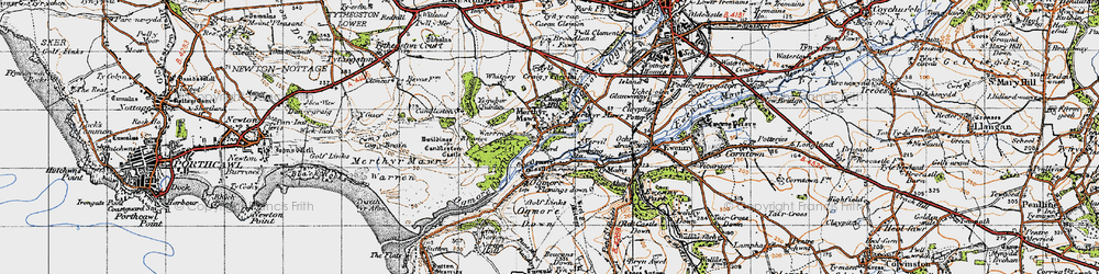 Old map of Merthyr Mawr in 1947