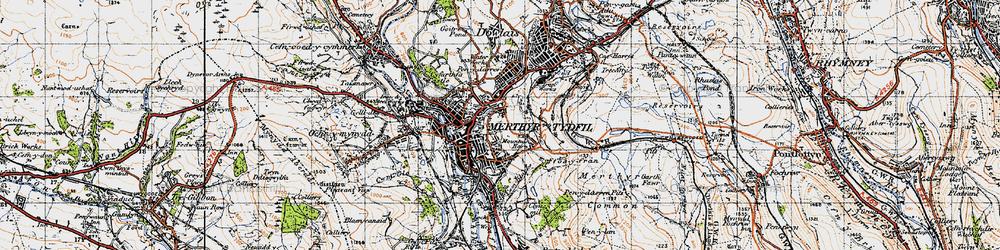 Old map of Merthyr Tydfil in 1947