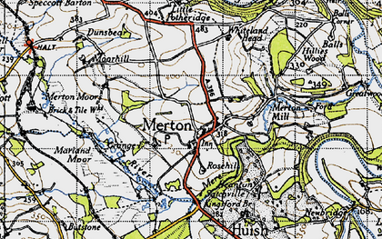 Old map of Merton Mill in 1946
