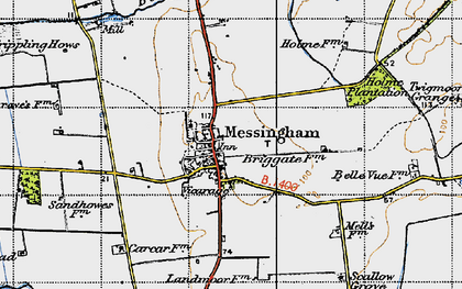 Old map of Messingham in 1947