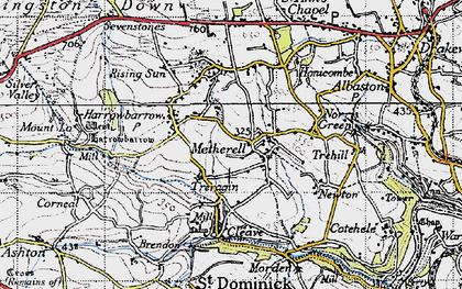 Old map of Metherell in 1946