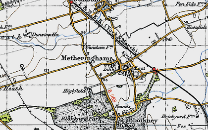 Old map of Metheringham in 1947
