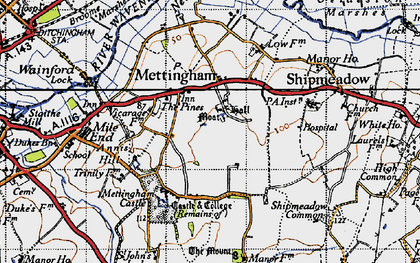 Old map of Mettingham in 1946