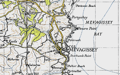 Old map of Mevagissey in 1946