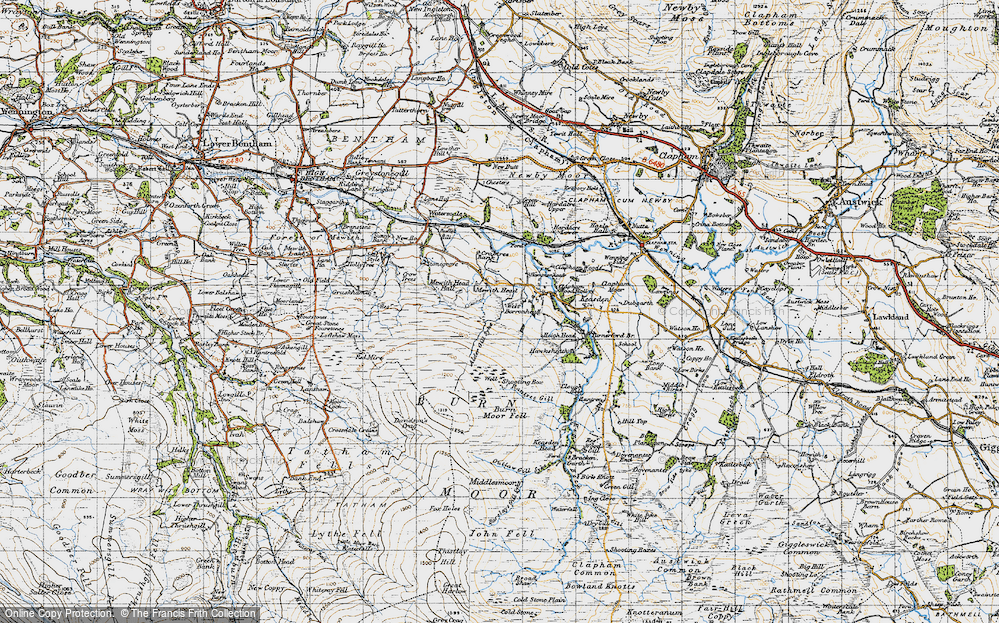 Old Map of Historic Map covering Alder Gill Syke in 1947