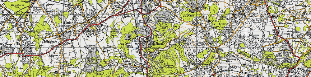 Old map of White Hill in 1940