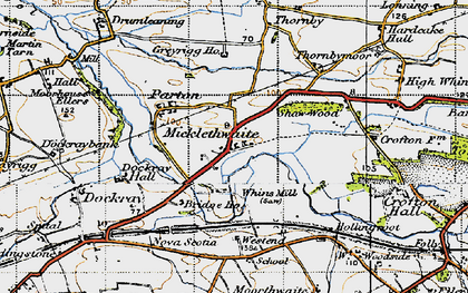 Old map of Whinnow Beck in 1947