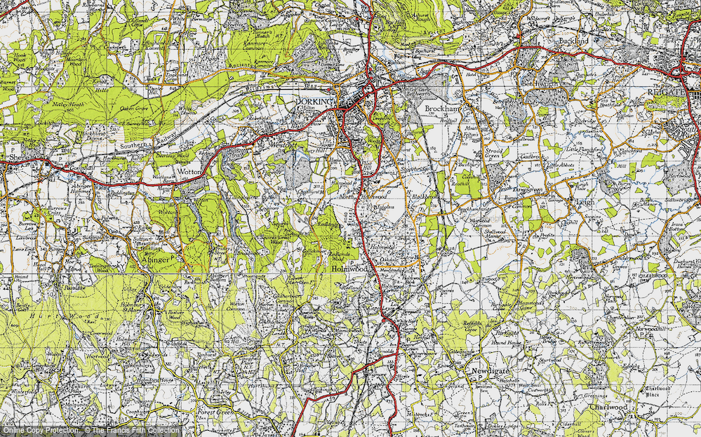 Old Map of Historic Map covering Abinger Forest in 1940