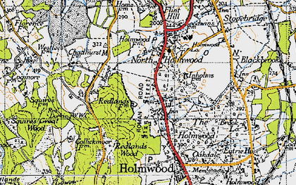 Old map of Abinger Forest in 1940