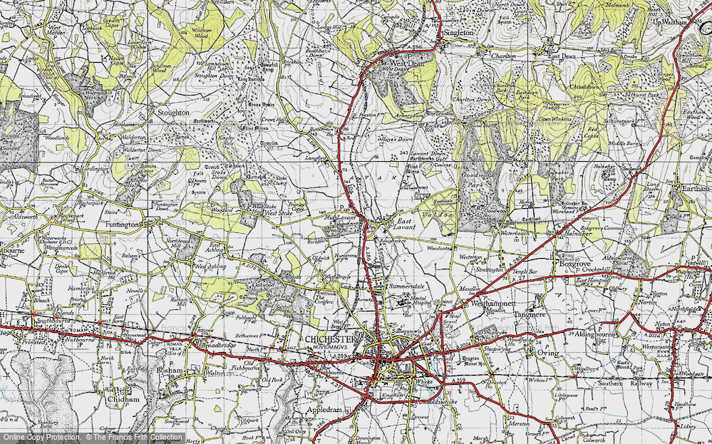 Old Map of Historic Map covering Lavant Ho (Sch) in 1945