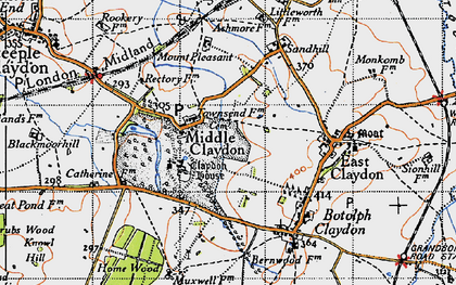 Old map of Middle Claydon in 1946