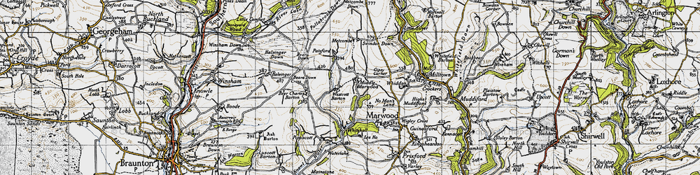Old map of Westcott Barton in 1946