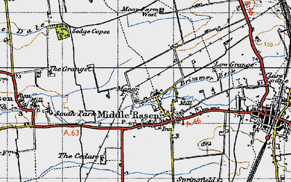 Old map of Middle Rasen in 1947