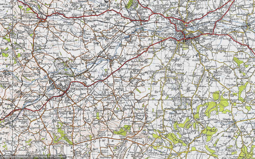 Old Map of Historic Map covering Lipe Hill in 1946