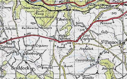 Old map of Middle Taphouse in 1946