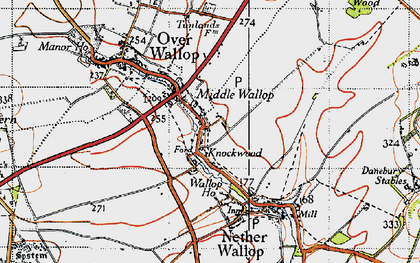 Old map of Middle Wallop in 1940