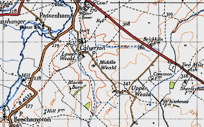 Old map of Middle Weald in 1946